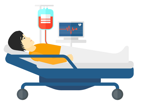 heart monitor: An asian patient lying in hospital bed with heart rate monitor while blood transfusion is running vector flat design illustration isolated on white background.