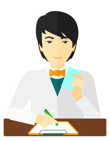 druggist: An asian pharmacist taking notes and holding a prescription in a hand vector flat design illustration isolated on white background.