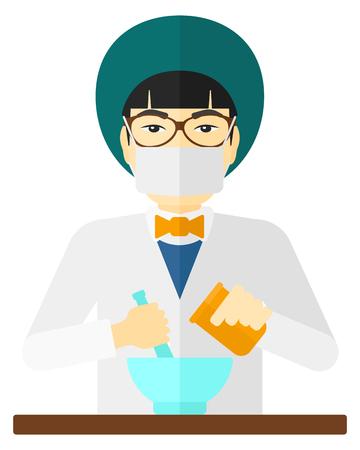 druggist: An asian pharmacist preparing medicine vector flat design illustration isolated on white background. Illustration