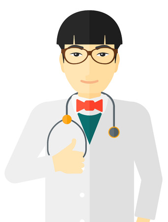 protective gown: An asian doctor with stethoscope showing thumb up vector flat design illustration isolated on white background.