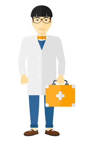 hospital gown: An asian doctor carrying first aid box vector flat design illustration isolated on white background.