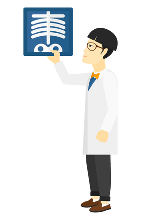 radiograph: An asian doctor looking at a radiograph vector flat design illustration isolated on white background.