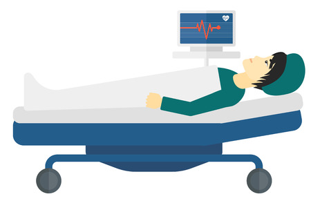 An asian patient lying in bed with a monitor showing his heartbeat vector flat design illustration isolated on white background.