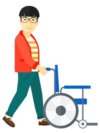 Een Aziatische man te duwen lege rolstoel vector platte ontwerp illustratie op een witte achtergrond.