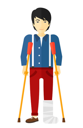 crutches: An asian injured man with broken leg standing with crutches vector flat design illustration isolated on white background.