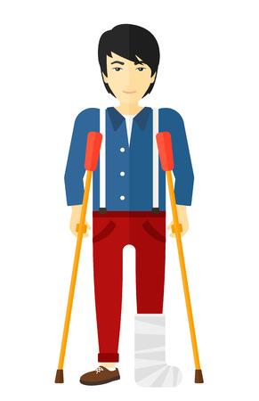 Un homme blessé asiatique avec la jambe cassée debout avec des béquilles vecteur design plat illustration isolé sur fond blanc.