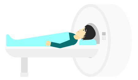 An asian man undergoes an magnetic resonance imaging scan test vector flat design illustration isolated on white background.