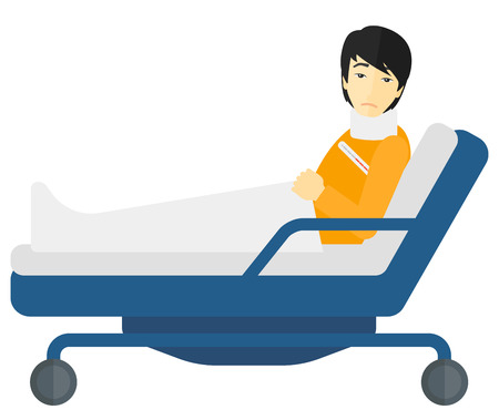 An asian patient with injured neck lying in bed vector flat design illustration isolated on white background.