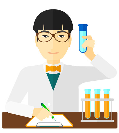 taking notes: An asian laboratory assistant taking some notes and holding a test tube vector flat design illustration isolated on white background.