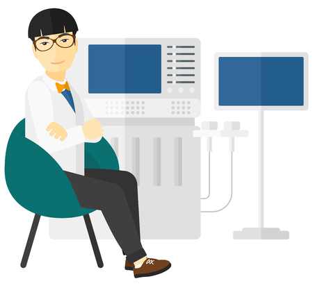 ultrasonic: An asian ultrasound specialist with ultrasonic equipment vector flat design illustration isolated on white background.