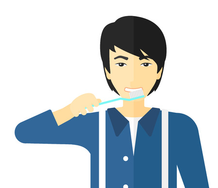 그의 이빨을 칫 솔을 칫 솔 질하는 아시아 남자 벡터 평면 디자인 일러스트 레이 션 흰색 배경에 고립.