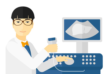 An asian ultrasound specialist with ultrasonic equipment vector flat design illustration isolated on white background.