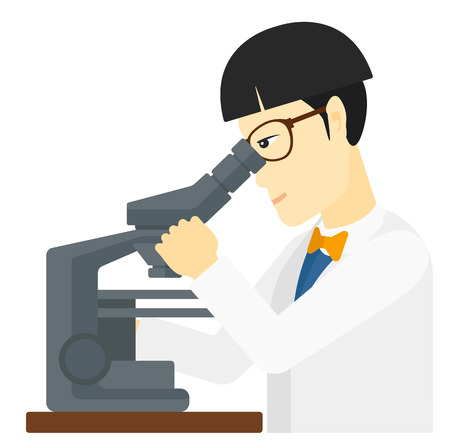 An asian laboratory assistant looking through a microscope vector flat design illustration isolated on white background.
