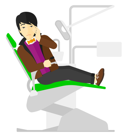 tooth pain: An asian patient sitting in dental chair and suffering from tooth pain vector flat design illustration isolated on white background. Illustration