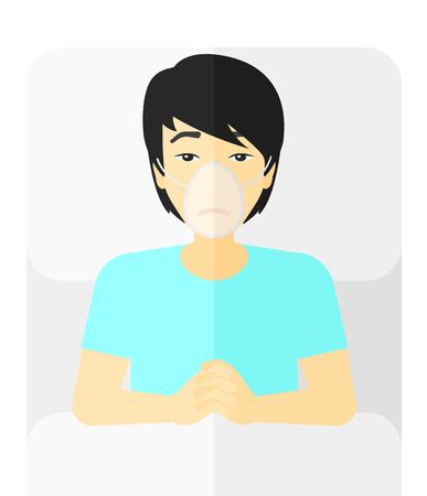 산소 마스크 병원 침대에 누워 아시아 환자 벡터 평면 디자인 일러스트 레이 션 흰색 배경에 고립.
