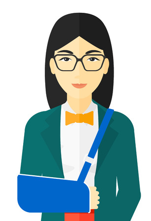 broken arm: An asian woman with broken arm in bandages vector flat design illustration isolated on white background.