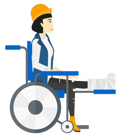 An asian patient with broken leg sitting in wheelchair vector flat design illustration isolated on white background. Illustration