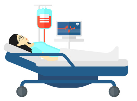 lying in bed: An asian patient lying in hospital bed with heart rate monitor while blood transfusion is running vector flat design illustration isolated on white background.