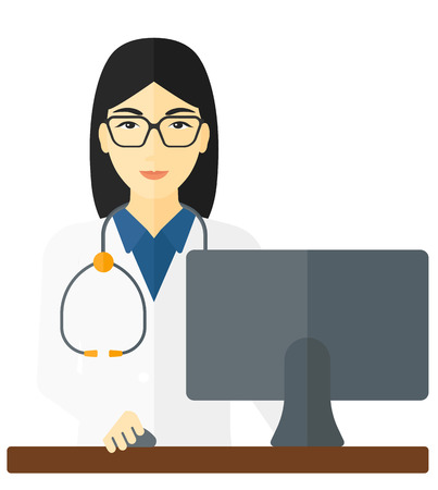 dispensary: An asian pharmacist standing at the counter in front of computer monitor vector flat design illustration isolated on white background.