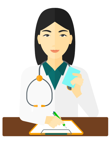 holding notes: An asian pharmacist taking notes and holding a prescription in a hand vector flat design illustration isolated on white background.