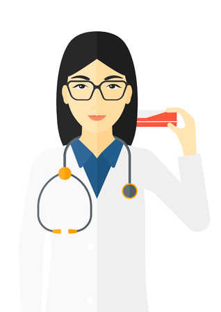 dispensary: An asian pharmacist showing some medicine vector flat design illustration isolated on white background.