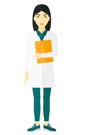 medico: An asian doctor holding a file vector flat design illustration isolated on white background.
