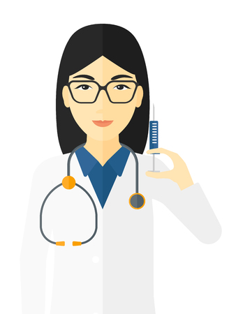 prick: An asian doctor holding the syringe with medication vector flat design illustration isolated on white background. Illustration