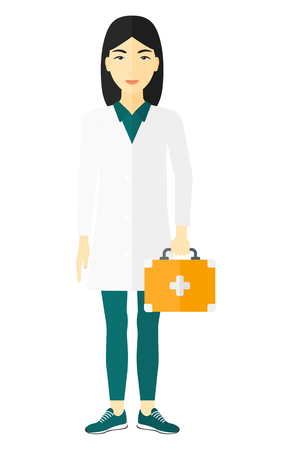 doctor isolated: An asian doctor carrying first aid box vector flat design illustration isolated on white background.