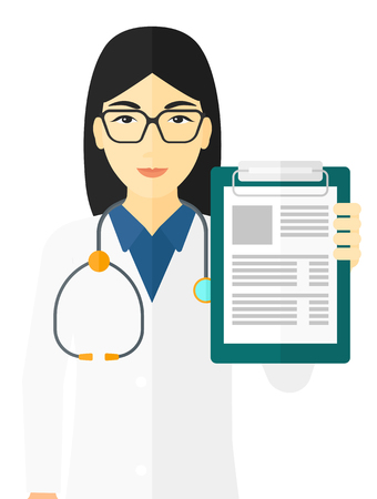 An asian doctor holding medical notepad vector flat design illustration isolated on white background. Vectores