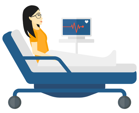 woman lying in bed: An asian patient lying in bed with a monitor showing her heartbeat vector flat design illustration isolated on white background.