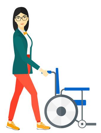 Een Aziatische vrouw duwen lege rolstoel vector platte ontwerp illustratie op een witte achtergrond. Stock Illustratie