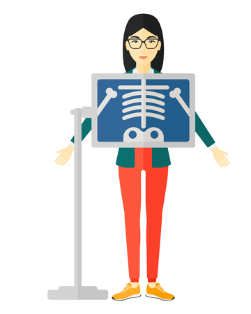 An asian patient with x-ray screen showing skeleton vector flat design illustration isolated on white background.
