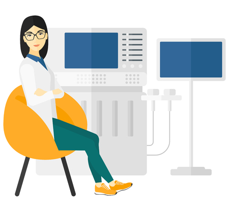 ultrasonic: An asian female ultrasound specialist with ultrasonic equipment vector flat design illustration isolated on white background.