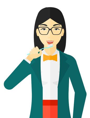 칫 솔을 가진 그녀의 이빨을 칫 솔 질하는 아시아 여자 벡터 평면 디자인 일러스트 레이 션 흰색 배경에 고립.