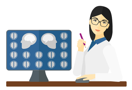 An asian doctor looking at results of MRI scan on a computer screen vector flat design illustration isolated on white background. 向量圖像
