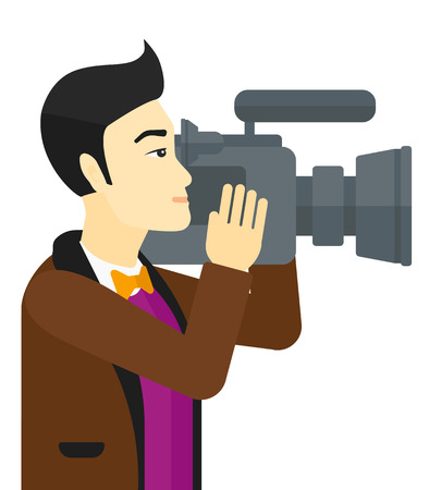 occupation cartoon: An asian cameraman with video camera taking a video vector flat design illustration isolated on white background.