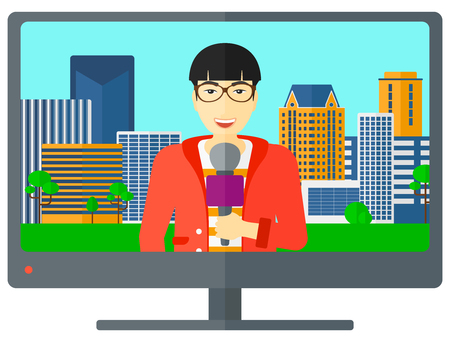 flat screen: Television set broadcasting the news with an asian reporter vector flat design illustration isolated on white background. Illustration
