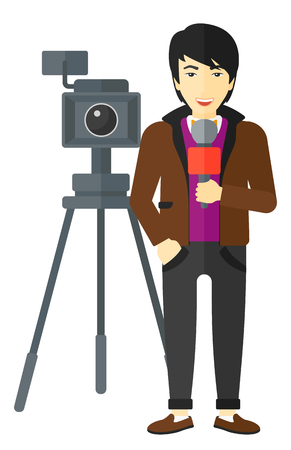 filming: An asian camera filming and a reporter standing with a microphone vector flat design illustration isolated on white background. Illustration