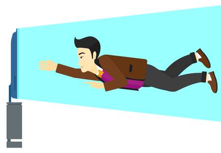 flat screen tv: An asian man flying in front of TV screen vector flat design illustration isolated on white background.