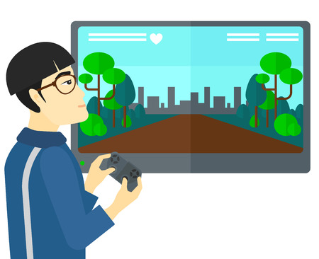 users video: An asian man playing video game with gamepad in hands vector flat design illustration isolated on white background. Illustration