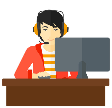 users video: An asian man in headphones sitting in front of computer monitor with mouse in hand vector flat design illustration isolated on white background.