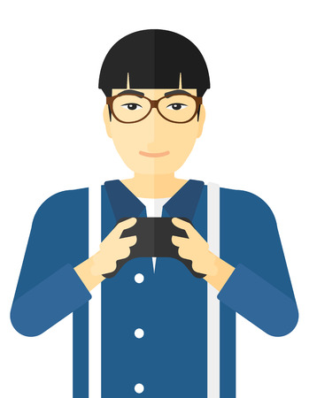 the gamepad: An asian man with gamepad in hands and big bags under his eyes vector flat design illustration isolated on white background.