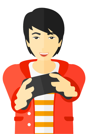 enthusiastic: An asian enthusiastic man with gamepad in hands vector flat design illustration isolated on white background. Illustration