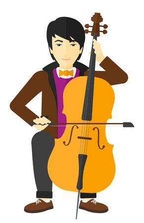 cellist: An asian man playing cello vector flat design illustration isolated on white background.