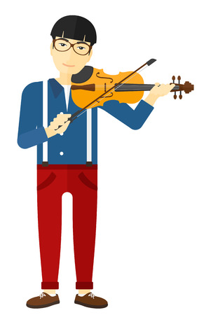 cellist: An asian man playing violin vector flat design illustration isolated on white background.