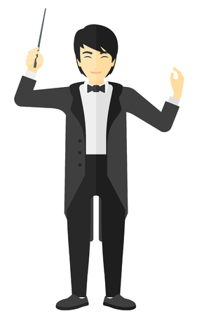 conducting: An asian orchestra conductor directing with his baton vector flat design illustration isolated on white background.