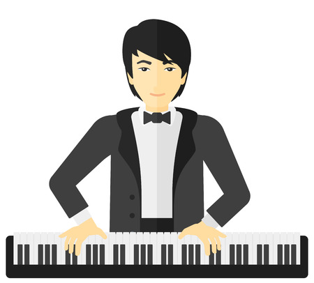 instrument practice: An asian musician playing piano vector flat design illustration isolated on white background. Illustration