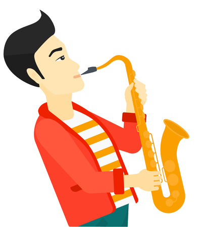 soloist: An asian musician playing saxophone vector flat design illustration isolated on white background.