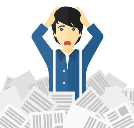 An asian man clutching his head because of having a lot of work to do with a heap of newspapers in front of him vector flat design illustration isolated on white background.