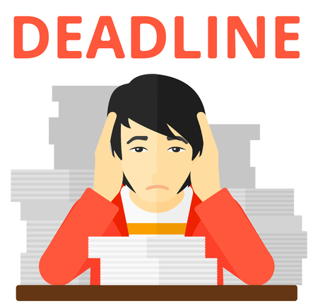 worried: An asian man holding his head while sitting at the table with stacks of papers vector flat design illustration isolated on white background.